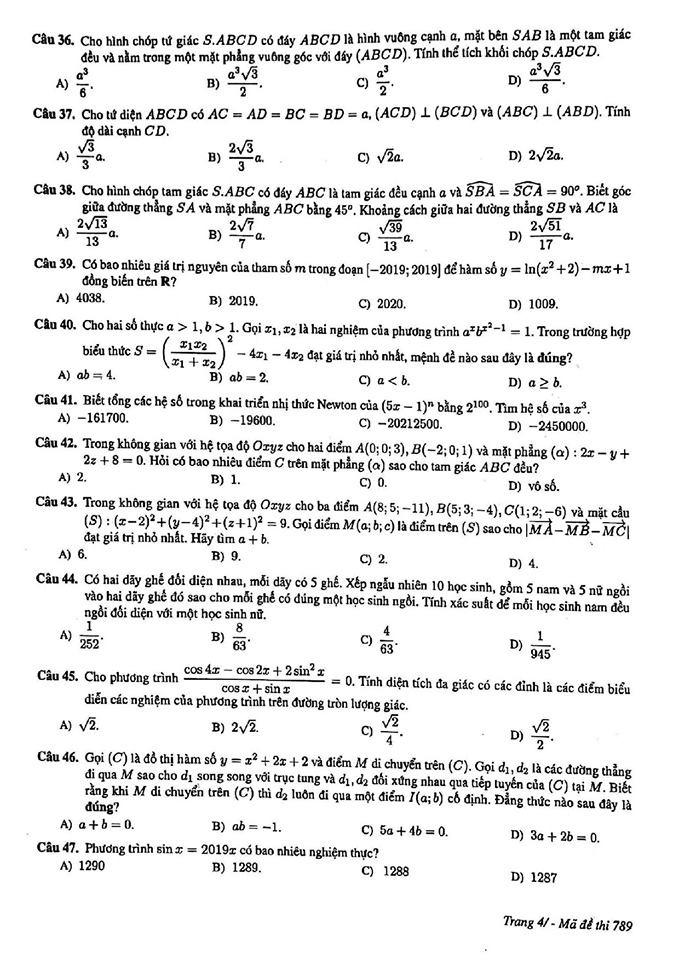 Đề thi thử môn Toán mã đề 789 THPT chuyên KHTN Hà Nội 4