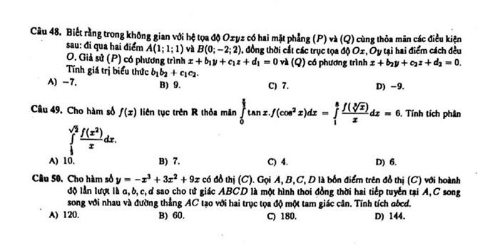 Đề thi thử môn Toán mã đề 789 THPT chuyên KHTN Hà Nội 5
