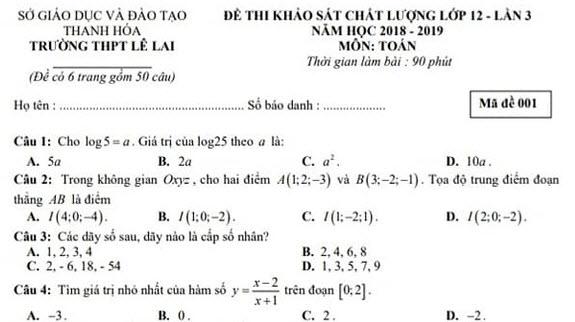 Đề thi thử THPTQG môn Toán trường THPT Lê Lai lần 3 - có đáp án
