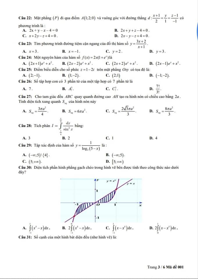 Đề thi thử THPTQG môn Toán trường THPT Lê Lai lần 3 trang 3
