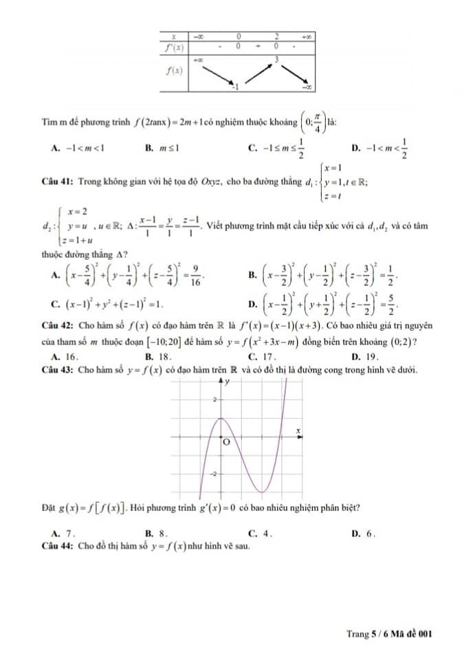 Đề thi thử THPTQG môn Toán trường THPT Lê Lai lần 3 trang 5