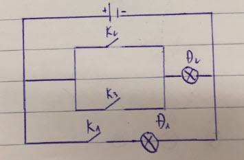 Vẽ sơ đồ mạch điện nâng cao với 3 khóa 2 đèn