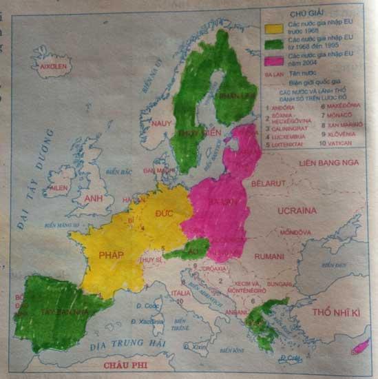 Lược đồ các nước trong Liên minh châu Âu năm 2004