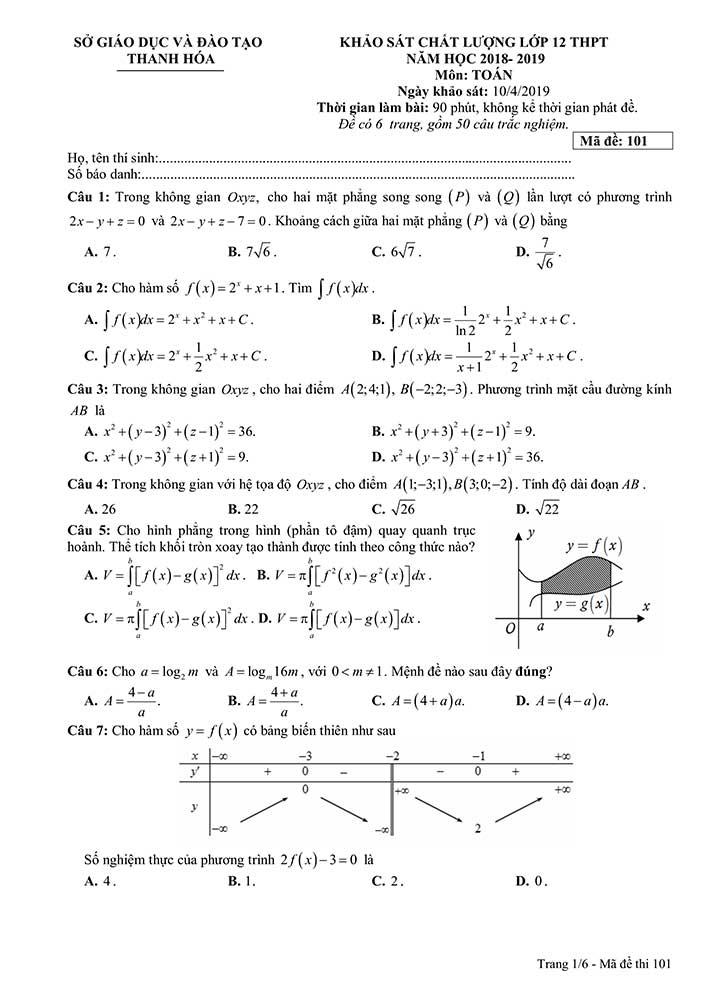 Đề thi khảo sát môn toán THPT Quốc Gia 2019 của Sở GD&ĐT Thanh Hóa trang 1