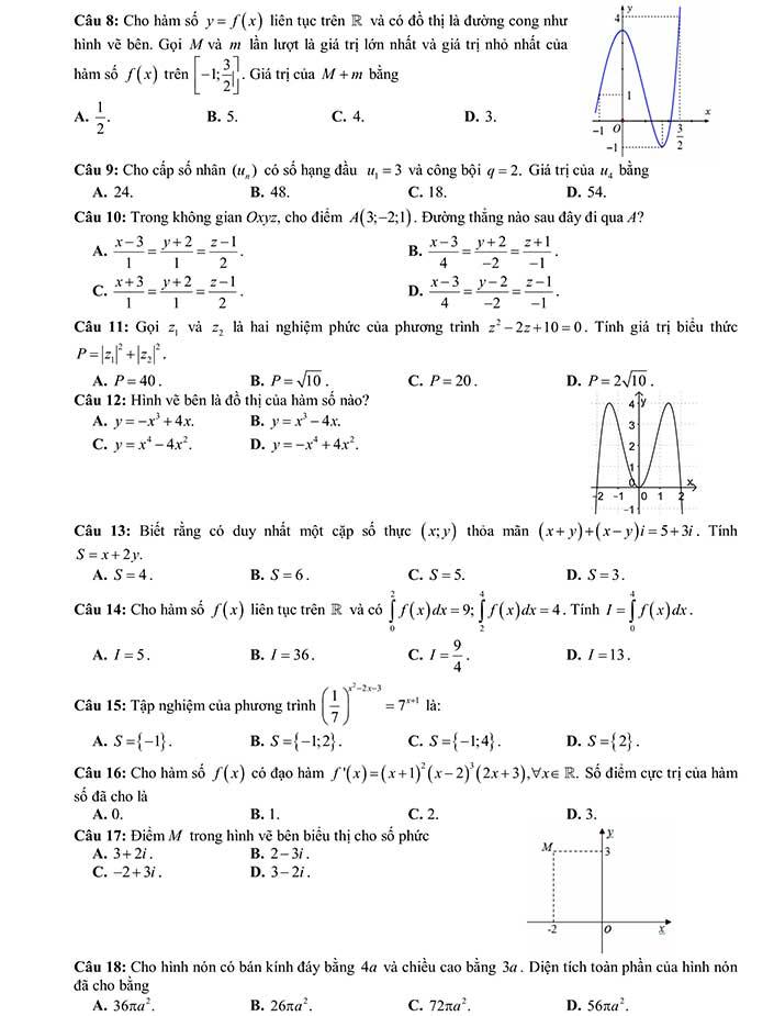 Đề thi khảo sát môn toán THPT Quốc Gia 2019 của Sở GD&ĐT Thanh Hóa trang 2