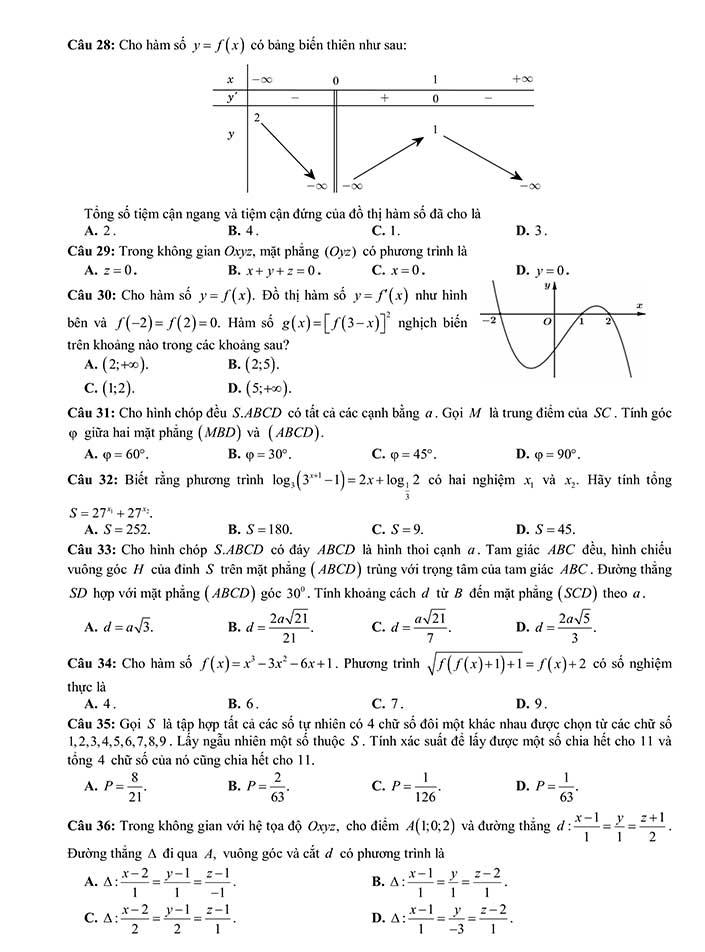 Đề thi khảo sát môn toán THPT Quốc Gia 2019 của Sở GD&ĐT Thanh Hóa trang 4