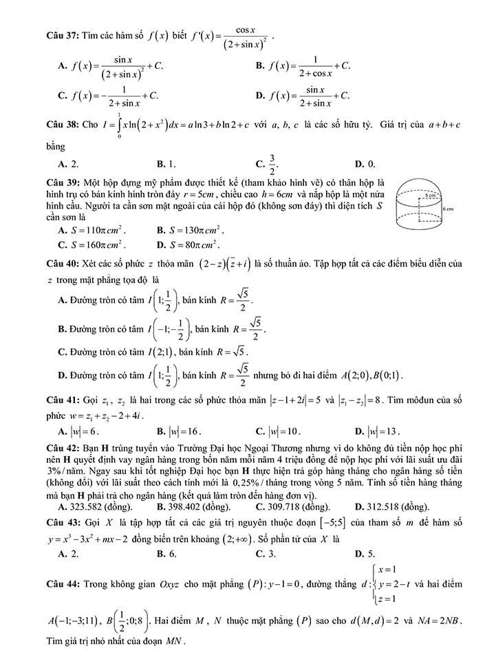 Đề thi khảo sát môn toán THPT Quốc Gia 2019 của Sở GD&ĐT Thanh Hóa trang 5