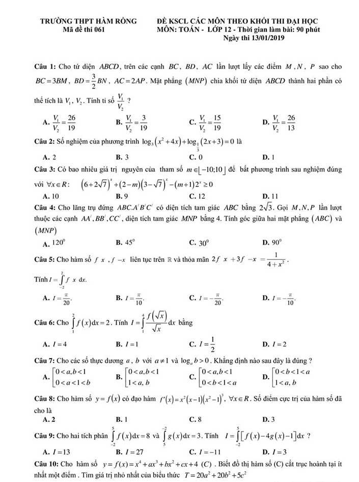 Đề thi thử môn toán THPT Hàm Rồng năm 2019