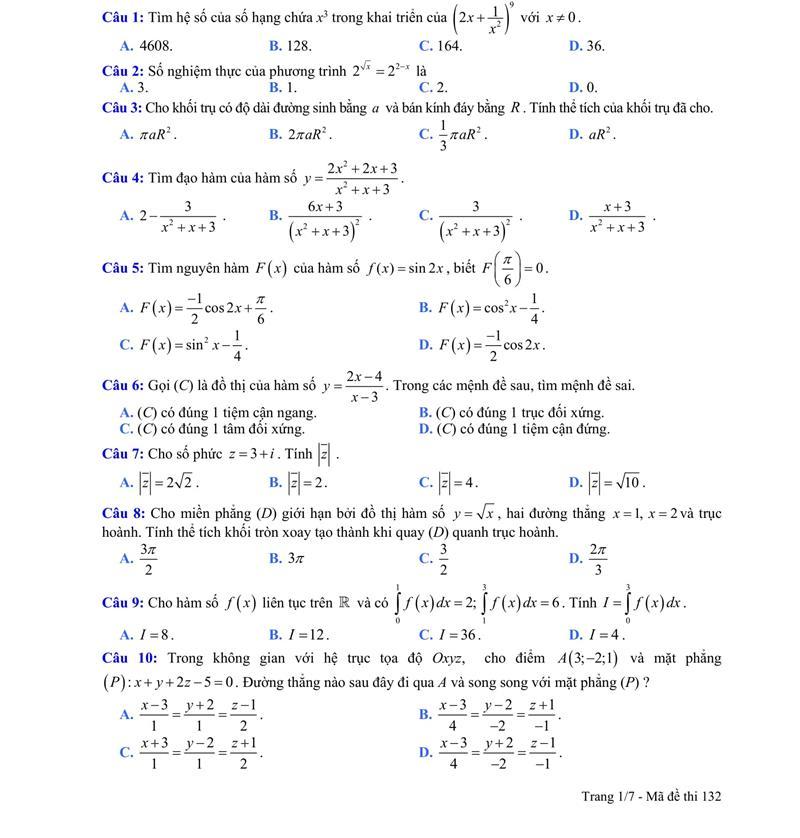 Đề thi thử môn toán Trường THPT Chuyên Lam Sơn năm 2019