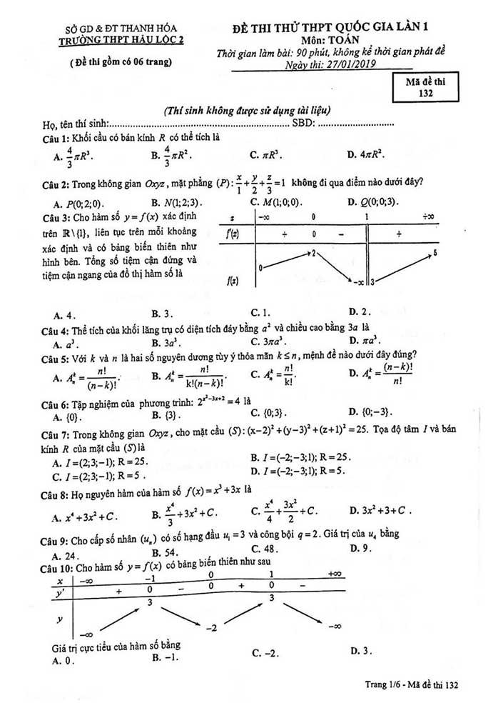 Đề thi thử môn toán trường THPT Hậu Lộc 2 năm 2019