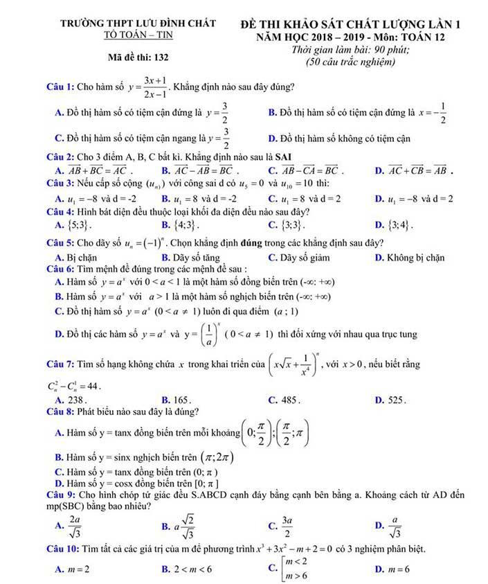 Đề thi thử môn toán trường THPT Lưu Đình Chất năm 2019