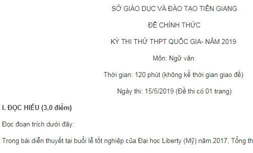 Đề thi thử môn Ngữ Văn THPTQG năm 2019 tỉnh Tiền Giang