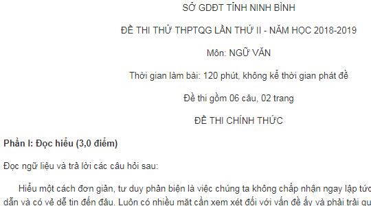Đề thi thử THPTQG 2019 môn Ngữ Văn tỉnh Ninh Bình lần 2