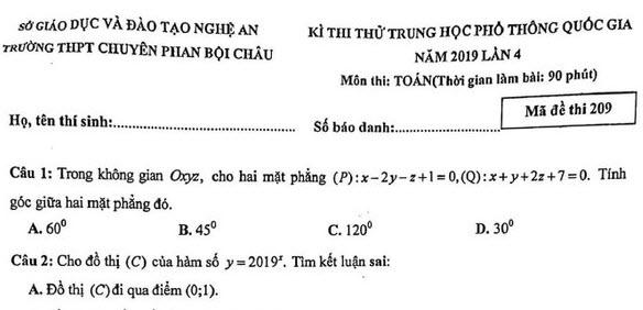Đề thi thử THPTQG 2019 môn Toán trường chuyên Phan Bội Châu - Nghệ An lần 4
