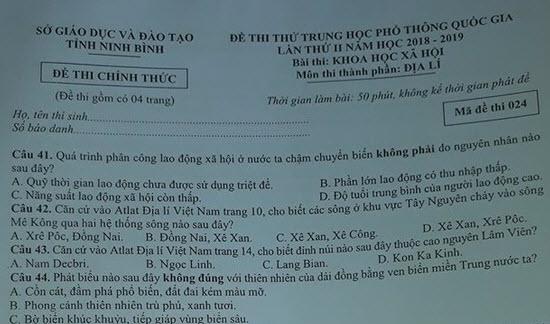 Đề thi thử THPTQG 2019 môn Địa Lí tỉnh Ninh Bình lần 2 (có đáp án)