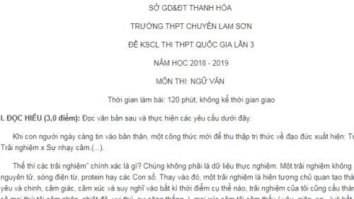 Đề thi thử THPTQG 2019 môn Ngữ Văn của trường THPT chuyên Lam Sơn Lần 3