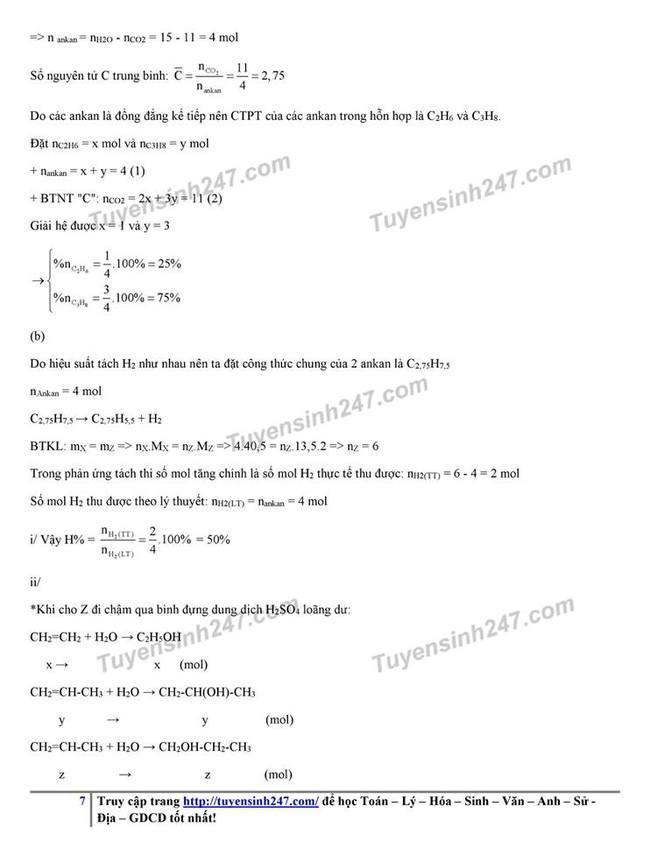 Đáp án đề thi tuyển sinh lớp 10 môn Hóa năm 2019 KHTN trang 8