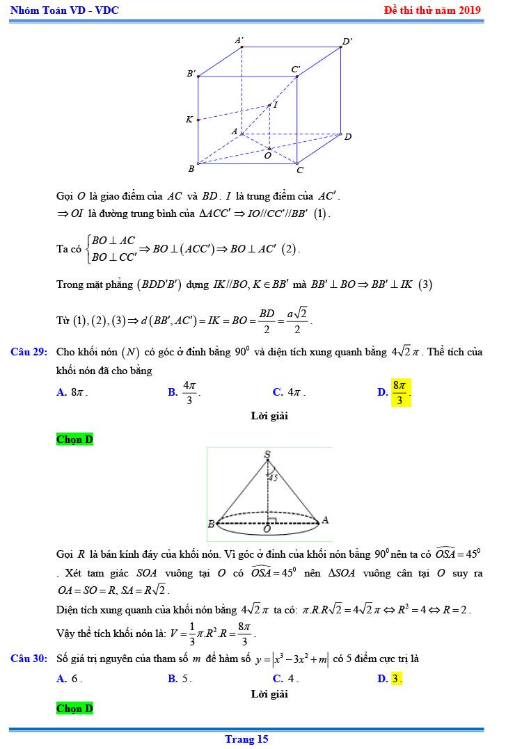 Đáp ánthi thử THPTQGmôn Toán 2019 Chuyên KHTN lần 3 trang 8