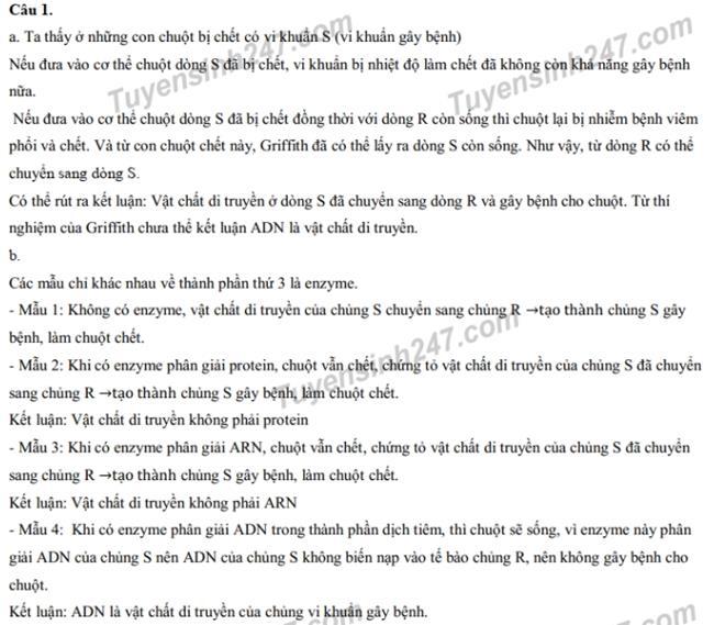 Đáp án câu 1 thi vào 10 chuyên Sinh2019 - ĐH Sư phạm Hà Nội