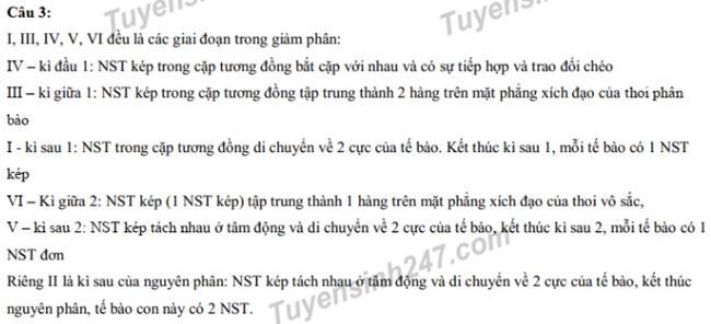 Đáp án câu 3 thi vào 10 chuyên Sinh2019 - ĐH Sư phạm Hà Nội