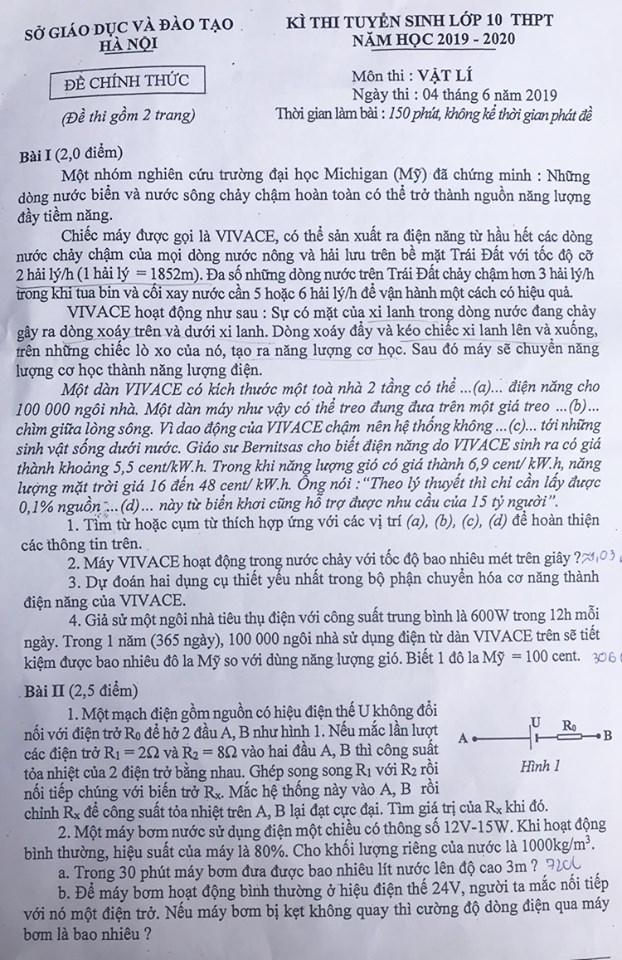 Đề thi tuyển sinh vào 10 chuyên Lí Hà Nội 2019 trang 1