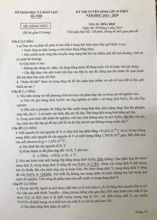 Đề thi tuyển sinh vào lớp 10 chuyên Hóa Hà Nội năm học 2019 trang 1