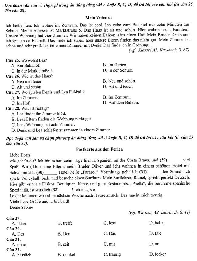 Đáp án đề thi Tiếng Đức vào lớp 10 Hà Nội năm 2019 mã đề 001 trang 3