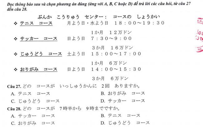 Đề thi vào lớp 10 môn tiếng Nhật TP Hà Nội năm 2019 phần 5