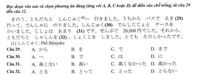 Đề thi vào lớp 10 môn tiếng Nhật TP Hà Nội năm 2019 phần 6