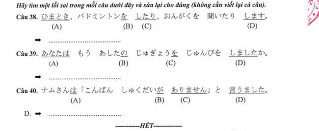 Đề thi vào lớp 10 môn tiếng Nhật TP Hà Nội năm 2019 phần 8