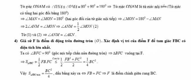 Đáp án câu 4 (tiếp) đề thi Toán vào lớp 10 tỉnh Hậu Giang 2018