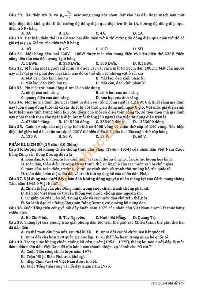 Đề thi chính thức vào 10 môn tổ hợp 2019 Vĩnh Phúc trang 2