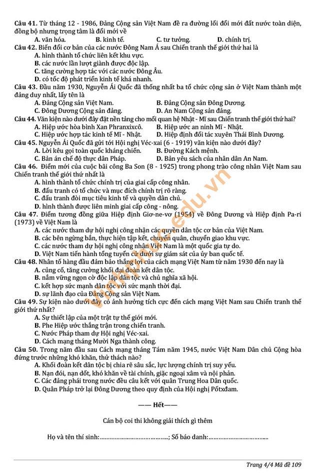 Đề thi chính thức vào 10 môn tổ hợp 2019 Vĩnh Phúc trang 3