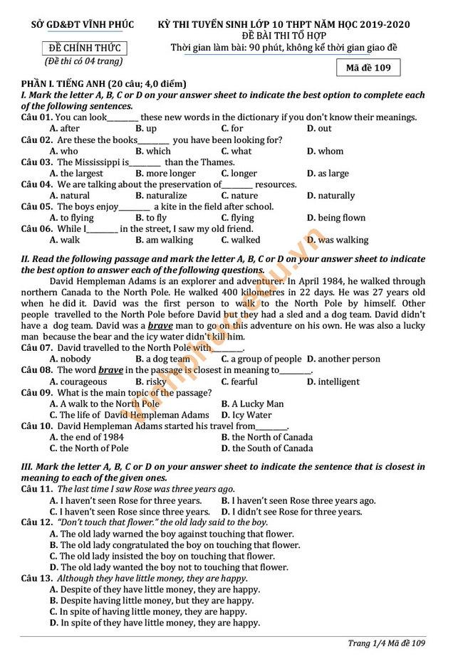 Đề thi chính thức vào 10 môn tổ hợp 2019 Vĩnh Phúc