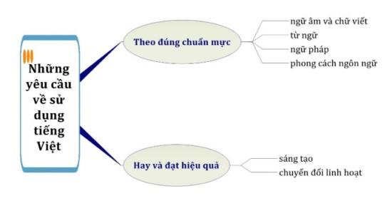 Sơ đồ tóm tắt những yêu cầu về sử dụng Tiếng Việt
