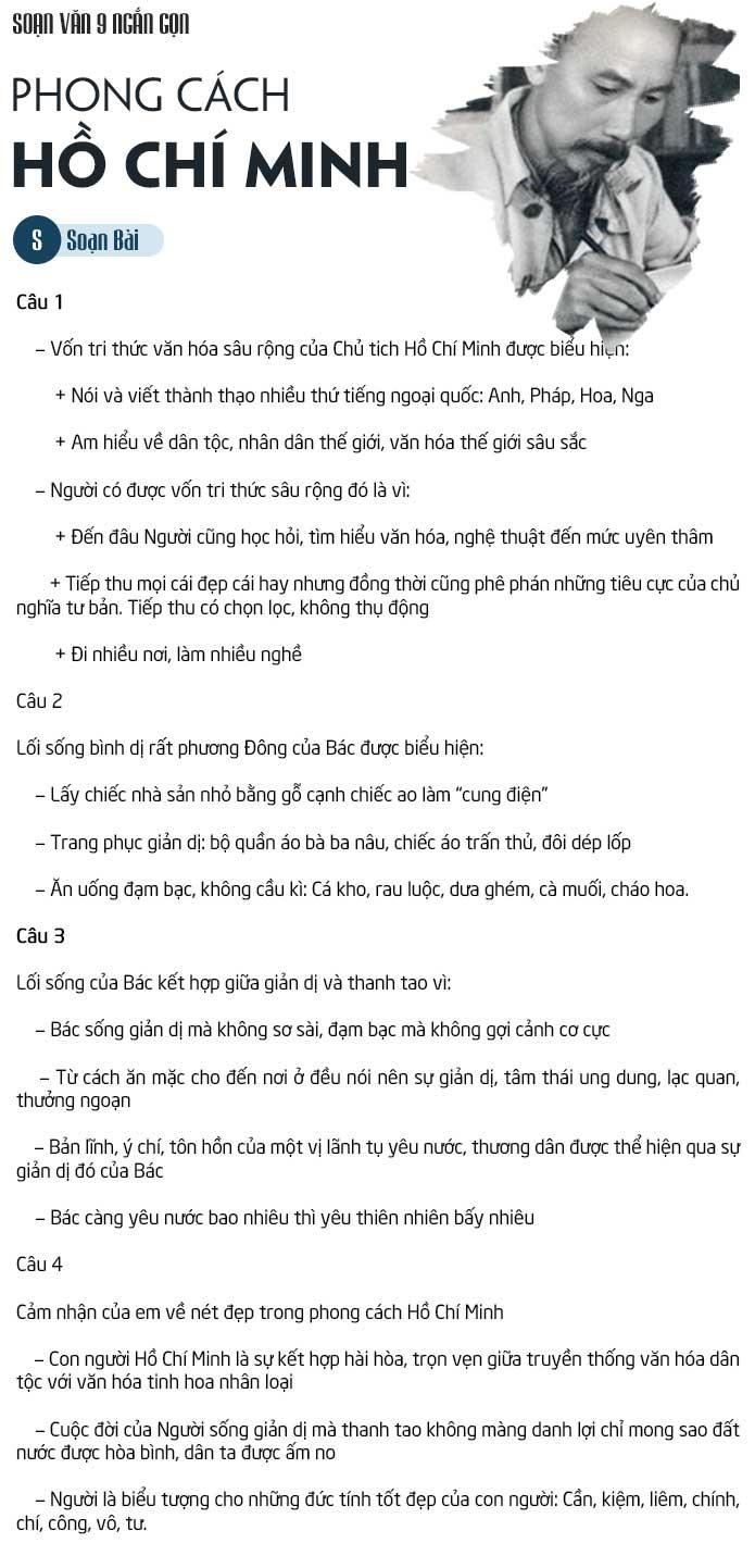 Soạn bài phong cách Hồ Chí Minh ngắn nhất
