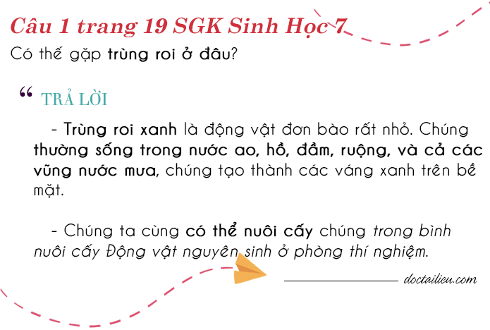 bài 1 trang 19 sgk Sinh học 7
