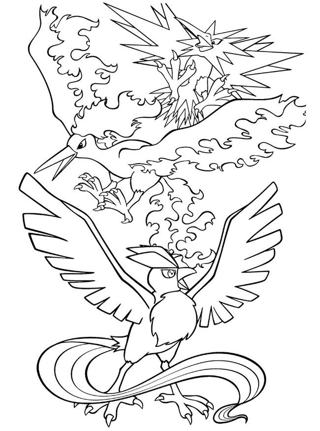 tranh tô màu Pokemon huyền thoại Legendary Birds