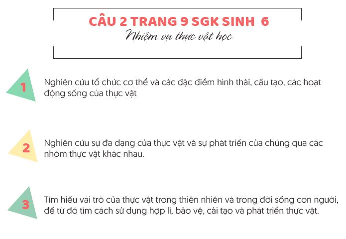 Trả lời câu 2 trang 9 SGK sinh 6