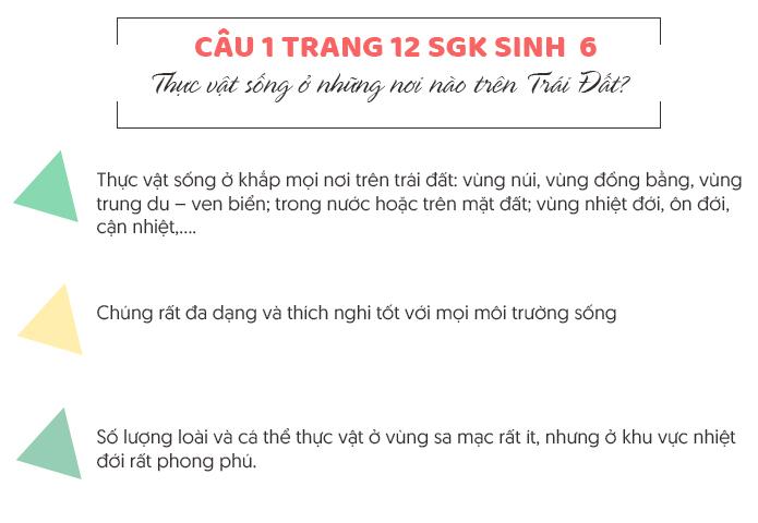 Trả lời câu 1 trang 12 SGK Sinh học 6