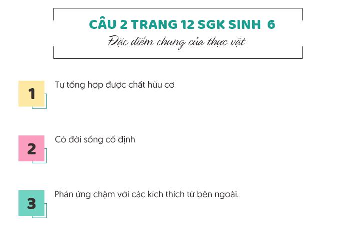 Trả lời câu 2 trang 12 SGK Sinh học 6