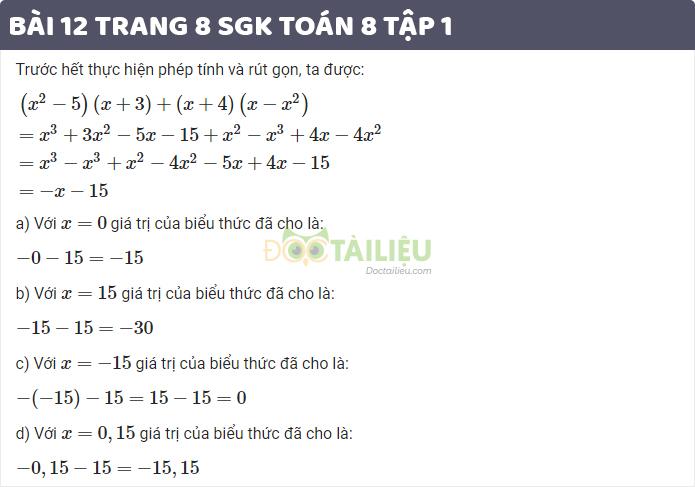 Giải bài 12 trang 8 sgk toán 8 tập 1