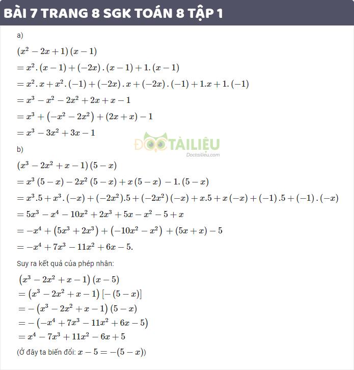 Hướng dẫn giải bài 7 sgk toán 8 tập 1 trang 8