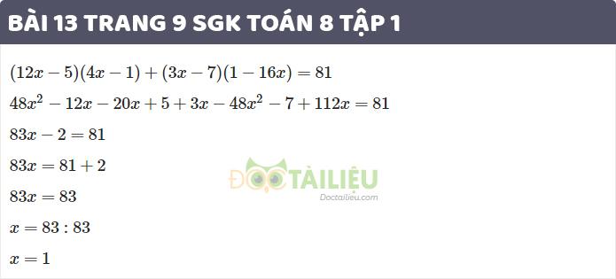 Giải bài 13 trang 9 sgk toán 8 tập 1