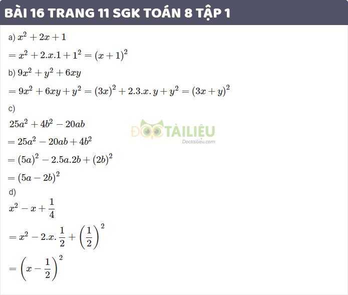 bài 16 trang 11 sgk toán 8 tập 1