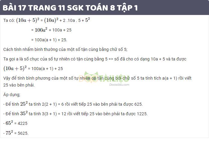 Bài 17 trang 11 sgk toán 8 tập 1
