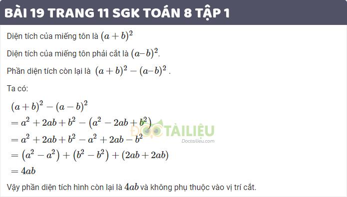 Bài 19 trang 11 sgk toán 8 tập 1