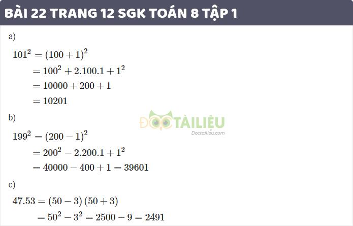 giải bài 22 sgk toán 8 tập 1 trang 12