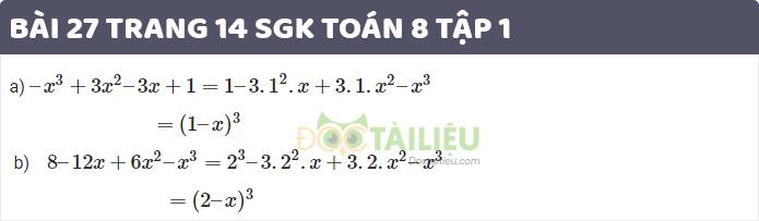 Giải bài 27 sgk toán 8 tập 1 trang 14