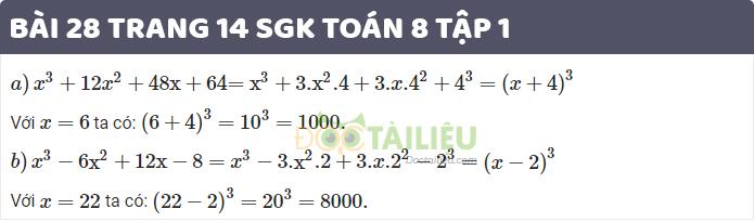 Giải bài 28 sgk toán 8 tập 1 trang 14
